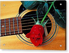 Guitar With Single Red Rose Acrylic Print by Garry Gay