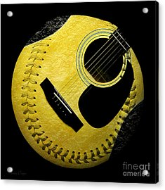 Guitar Yellow Baseball Square Acrylic Print by Andee Design
