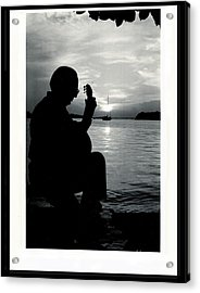 Guitarist By The Sea Acrylic Print by The Art of Alice Terrill