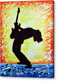 Guitarist Rockin' Out Silhouette Acrylic Print