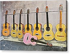 Acrylic Print featuring the digital art Guitars by Erika Weber