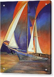 Acrylic Print featuring the painting Gulet Under Sail by Tracey Harrington-Simpson