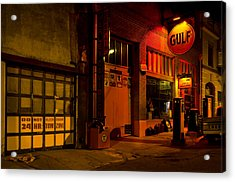 Gulf Oil Vintage Night Time Horizontal Acrylic Print