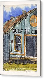Acrylic Print featuring the mixed media Gulf Oil Warehouse 2 by Tim Oliver
