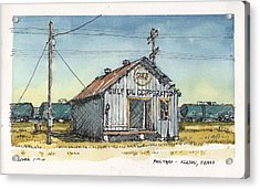 Acrylic Print featuring the mixed media Gulf Oil Warehouse by Tim Oliver