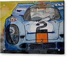 Acrylic Print featuring the painting Gulf Porsche by Anna Ruzsan