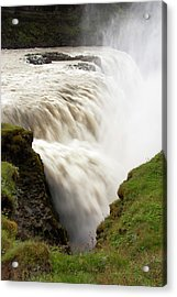 Gullfoss Golden Waterfall On River Acrylic Print by Martin Moos