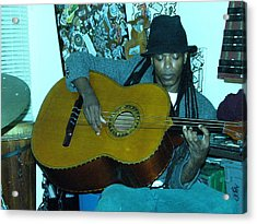 Gully Guitar And Black Hat  Acrylic Print by Cleaster Cotton