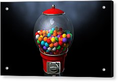 Gumball Dispensing Machine Dark Acrylic Print by Allan Swart