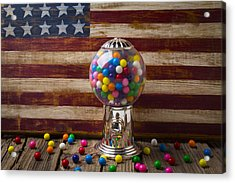Gumball Machine And Old Wooden Flag Acrylic Print