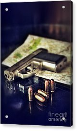 Gun With Bullets And Map Acrylic Print by Jill Battaglia