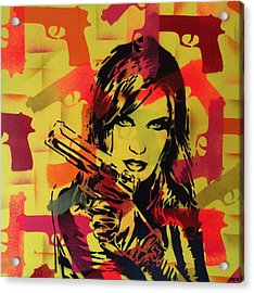 Guns And Girls 3 Acrylic Print by Leon Keay