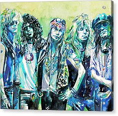 Guns N' Roses - Watercolor Portrait Acrylic Print