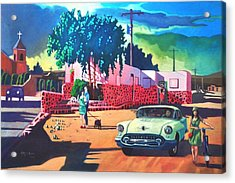 Acrylic Print featuring the painting Guys Dolls And Pink Adobe by Art James West
