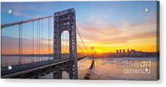 Gw Bridge Panorama Sunburst  Acrylic Print