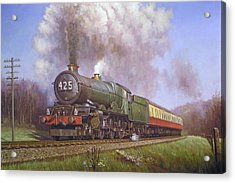 Gwr King Class On Dainton Bank. Acrylic Print by Mike  Jeffries