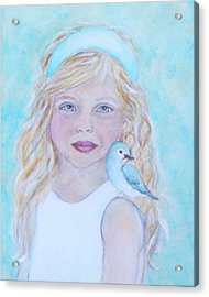 Gwyneth Little Earth Angel Of Happiness Acrylic Print by The Art With A Heart By Charlotte Phillips