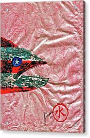 Gyotaku- 4th July - Spanish Mackerel- Bubble Gum Pink Acrylic Print by Jeffrey Canha