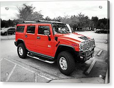 Red Hummer H2 Series  Acrylic Print