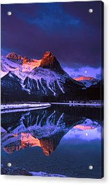 Ha-ling Peak And Full Moon Acrylic Print by Richard Berry