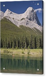 Ha-ling Peak Rises Above Quarry Lake Acrylic Print by Richard Berry