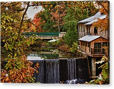 Hadley Upper Mill In Autumn Acrylic Print by Jeff Folger