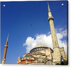 Hagia Sophia With Two Minarets Istanbul Turkey Acrylic Print by Ralph A  Ledergerber-Photography