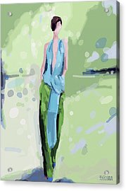 Haider Ackermann Fashion Illustration Art Print Acrylic Print by Beverly Brown