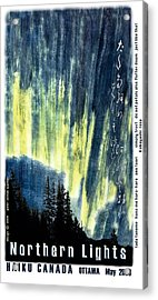 Acrylic Print featuring the photograph Haiga Poster Haiku Canada Conference  by Peter v Quenter