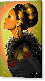 Hair Bun Acrylic Print by  Fli Art