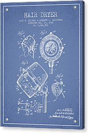 Hair Dryer Patent From 1960 - Light Blue Acrylic Print