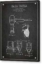 Hair Dryer Patent From 1974 - Charcoal Acrylic Print