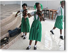 Haitian Girls Play Violins Acrylic Print by Jim Wright