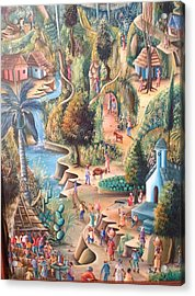 Acrylic Print featuring the painting Haitian Village by Dimanche from Haiti