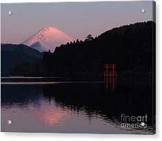 Acrylic Print featuring the photograph Hakone Waters Fuji  by John Swartz