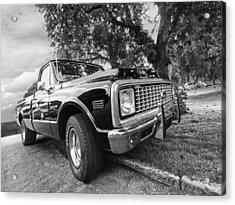 Halcyon Days - 1971 Chevy Pickup Bw Acrylic Print