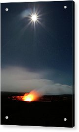 Halemaumau Volcanism At Night Acrylic Print by Michael Szoenyi