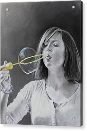 Bubble Girl Acrylic Print by Glenn Beasley