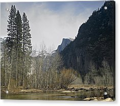 Half Dome And The Merced River In Winter Acrylic Print by Richard Berry