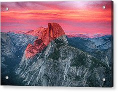 Acrylic Print featuring the painting Half Dome Sunset From Glacier Point by John Haldane