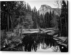 Half Dome - Yosemite In Black And White Acrylic Print