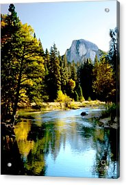 Half Dome Yosemite River Valley Acrylic Print by Bob and Nadine Johnston
