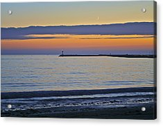Half Moon Bay Under The Moon At Sunset Acrylic Print