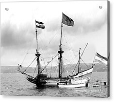 Half Moon Re-entered Hudson River After An Absence Of 300 Years In Black And White Acrylic Print