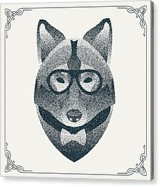 Halftone, Dotwork Hipster Wolf With Acrylic Print