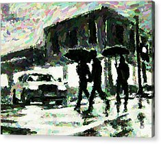 Halifax In The Rain One Acrylic Print by John Malone