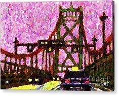 Halifax Macdonald Bridge Pointillist Acrylic Print by John Malone