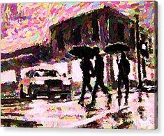 Halifax Nova Scotia On In The Rain Acrylic Print by John Malone johnmaloneartistcom