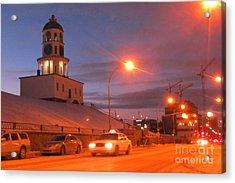 Halifax Town Clock In Halifax Nova Scotia Acrylic Print by Halifax photographer John Malone