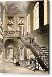 Hall And Staircase At The British Acrylic Print by T. & Pugin, A.C. Rowlandson